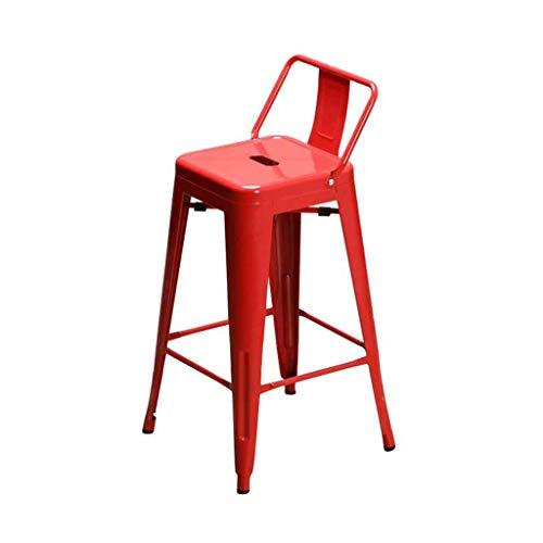 QTQZDD Bar Krukken Metalen Rugleuning Voetsteun Keuken Lounge Stoel Ontbijt Eettafel Kruk Counter Hoge Stoelen Industriële Vintage Stijl Iron Art Meubels (Kleur: Rood) 1 1