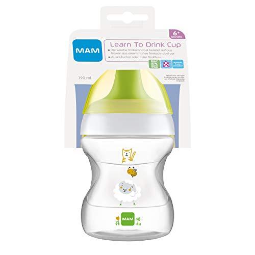 MAM Learn to Drink - Bicchiere da 190 ml, con beccuccio per i primi tentativi di bere, forma ergonomica, 6 mesi