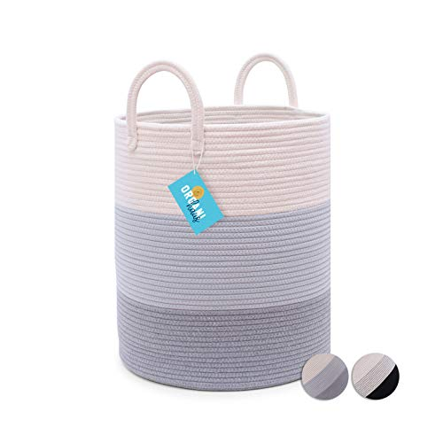 OrganiHaus Cotton Rope Basket in Grey  Tall Storage Basket with Long Handles  Decorative Blanket Basket for Living Room and Laundry 15x18
