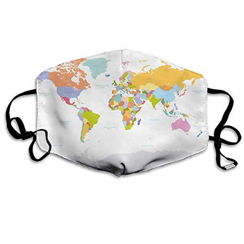 Comfortable Windproof Mask,Map, Highly Detailed Political Map Of The World Global Positioning System Graphic Colorful,Multicolor