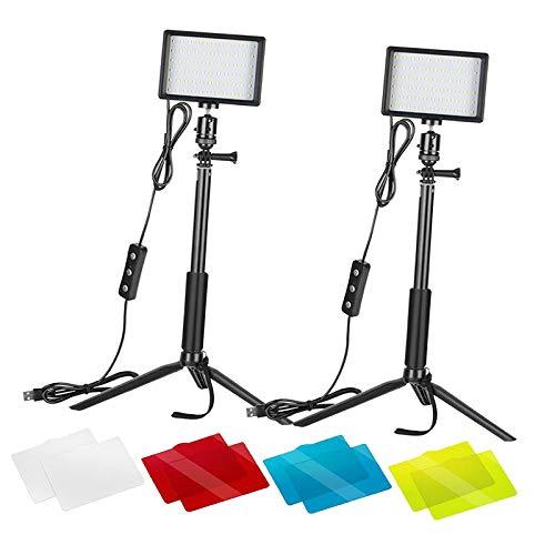 H HILABEE Kit de Iluminación Colorida de Luz de Video LED de 2 Piezas para Fotografía de Disparo de ángulo Bajo