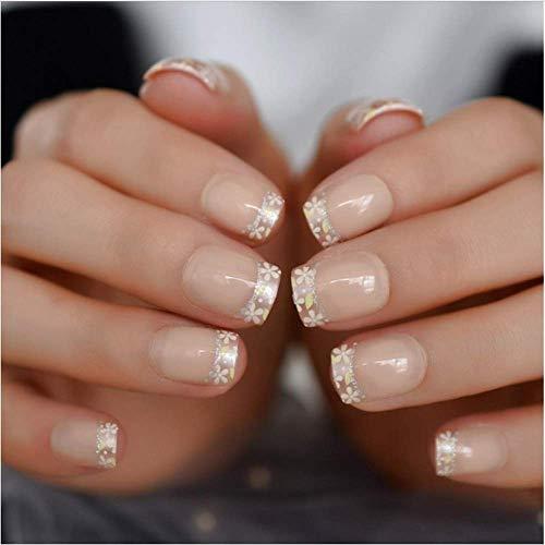 Valse nagels, nep nagels, natuurlijke parel elegante touch Franse manicure, korte natuurlijke kunstmatige klassieke lijn nagel vakantie partij cadeau huis nep nagel, 24 Stks 6