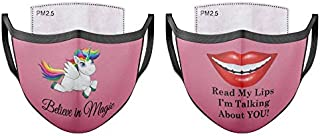 Face Cover Mask (Set of 2) Unisex with 6 Removable Replaceable Carbon Activated Filters with Cute Prints (Pink-Magic/Lips)
