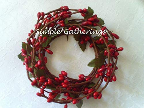 NIMBOD - Holiday, Seasonal Decor Supplies for RED 2' Diameter Pip Berry Candle Ring Crafts Farmhouse Valentine's Americana for Christmas Decorations, Wall, Door, Home Décor