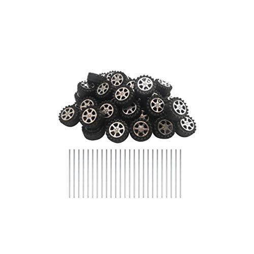 Milisten 50 Stück Kunststoffrollen mit 25 Achsen Miniatur-Räder, Schaft Spielzeug Rad und runde Stangenachsen für DIY Handwerk RC Auto Hubschrauber LKW Ersatzteile 42 mm