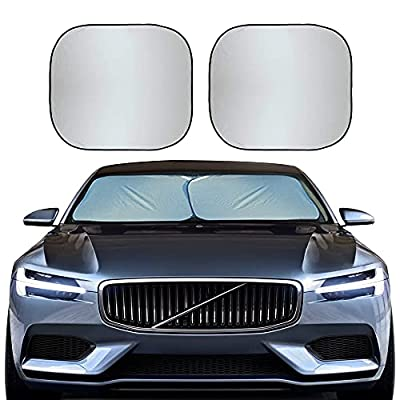 EcoNour Foldable 2-Piece Car Windshield Sunshade   Durable 240T Polyester Sun Shield for Front Window Blocks UV Rays   Automotive Interior Accessories for Sun Protection   Medium (28 x 31 inches)
