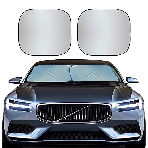 EcoNour Foldable 2-Piece Sun Shade for Car Windshield | Total Sun Heat and UV Protection with Automotive Interior Sun Protection | Window Sunshade with Complete Interior Protection (Medium 28'x31')