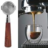 Portafiltros sin fondo, portafiltro de café de 51 mm con mango de madera para hacer café, suministros para cafeteras