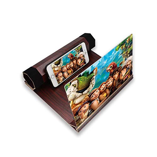 YM09 Praktische 12 inch Grote Scherm Vergrootglas Voor Smartphone, 3D Vergrootglas Met Stand Voor Android & Iphone, Opvouwbare Draagbare Loupes Voor IPhoneXS/XR/5/5s/6/6s/7/7s/8/8s, Brownish red