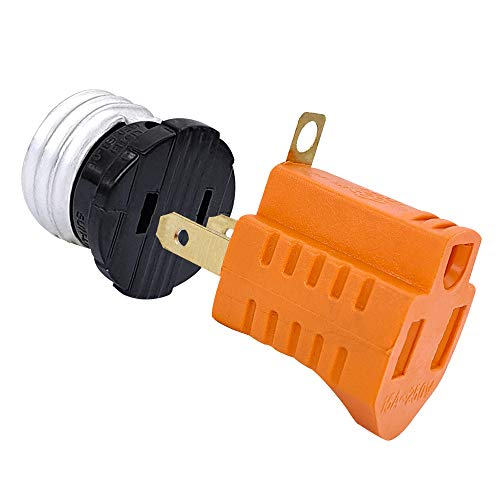 2 Prong to 3 Prong Adapter, Polarized Outlet, Light Bulb to Outlet Socket Adapter, E26 Light Socket Plug Adapter