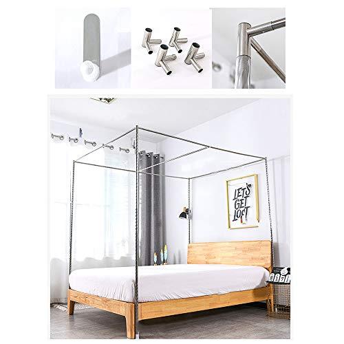 HOXMOMA Edelstahl Bett Baldachin Rahmen, Moskitonetzhalterung, 4 Ecken Bettpfosten, Stahlrohrbettständer mit Gewinde und Metall-T-Stecker,24mm,1.5×2m Bed