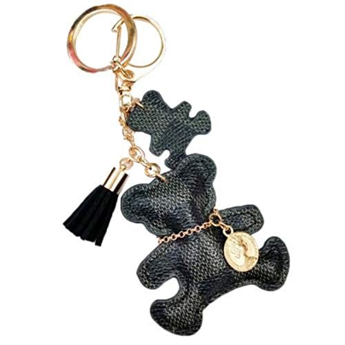 Keychain Cute Style Bear Faux Leather Tassel Simple Decor Bag Pendant Car Key Hanging Accessories