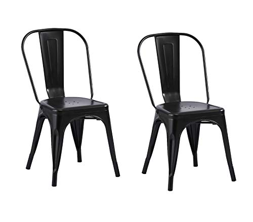 SAM 2er Set Metallstuhl Lara, Schwarz matt, Esszimmerstuhl im Industrial-Design, stapelbarer Bistrostuhl, hohe Rückenlehne