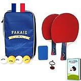 FAKAIS Raquette de ping pong professionnelle,2 Raquettes de tennis de table+4 Balles+Housse raquette ping pong sécurisée+Eponge pour raquettes-Idéal pour jouer en famille, entre amis ou en compétition