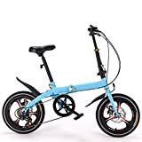 16-inch Folding Bike Ultralight Light Portable Students Mini Bicycle, Commuter Foldable Bicycle Women's Adult Student Car Bike Lightweight High-Carbon Steel Frame Shock Absorption
