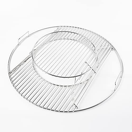 LOKHING Parrillas de repuesto con bisagras para parrillas Weber de 57 cm, sistema gourmet, rejillas de cocción cromadas, para parrillas Weber 8835, One-Touch, Performer, Bar-B-Kettle y Master-