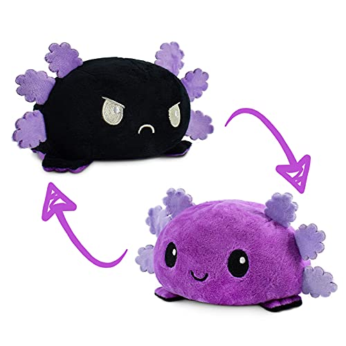 TeeTurtle | The Original Reversible Axolotl Plushie | Patented Design | Sensory Fidget Toy for Stress Relief | Purple + Black | Happy + Angry | Show Your Mood Without Saying a Word!