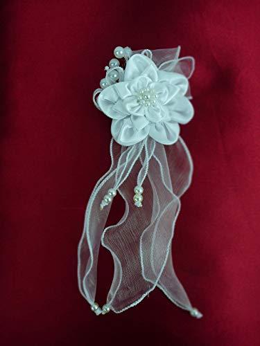 Brauthaarschmuck Kommunion Haarschmuck Hochzeit Haarblume aus weißem Satin, Bändchen und Perlen