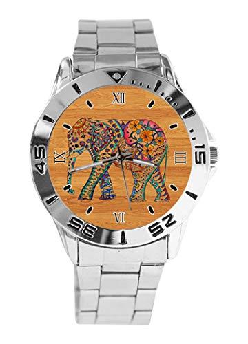 Holz-Elefant Blumen-Zeichnung Design Analog Armbanduhr Quarz Silber Zifferblatt Klassische Edelstahl-Band Damen Herren Armbanduhr