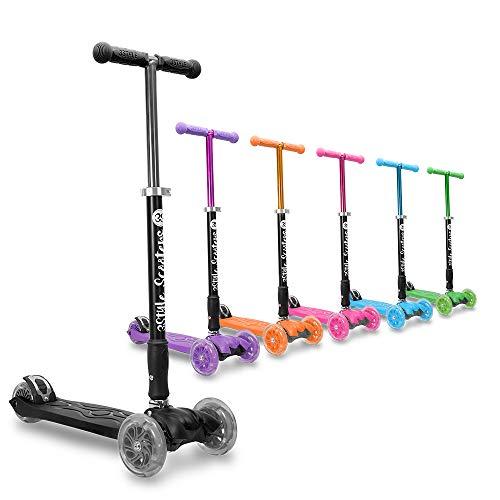 3StyleScooters® RGS-2 Patinete Scooter Tres Ruedas para Niños Niños de 5 Años o Más con Luces LED en Las Ruedas, Diseño Plegable, Manillar Ajustable, Peso Ligero (Negro)