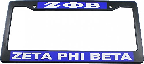 Zeta Phi Beta Text Decal Plastic License Plate Frame [Black - Car/Truck]
