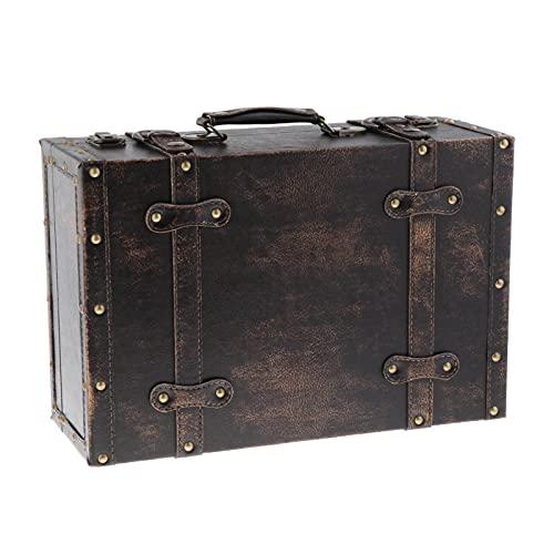 IPOTCH Caja de Almacenamiento de Madera Vintage con Cerradura Maleta Joyero para Manualidades de Regalo para Organizador Decoraciones de Escritorio Embalaje - café