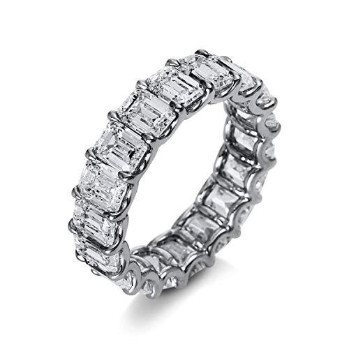 Damenring Memory Ring aus 750 Weißgold mit 18 Brillanten 7,3 ct TW-si, Ringgröße:Innenumfang 53mm ~ Ø16.9mm