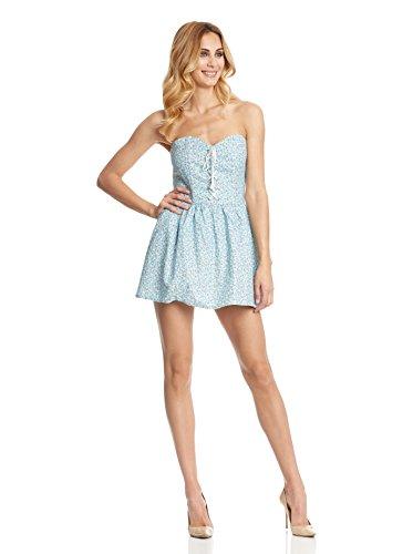 Rare London Kleid Lace Up Strapless Floral blau DE 34 (UK 8)