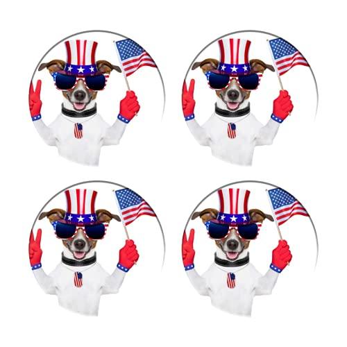 Posavasos para Bebidas,Perro Americano USA ,Manteles Individuales Redondos Reutilizables para la decoración...