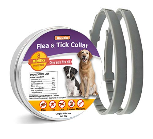 Duuda 2 Pack Dogs Flea and Tick Collar - 8 Months Protection for Dog and Puppies - Waterproof, Adjustable, Hypoallergenic and Ultra Safe Insect Repellent with Natural Essential Oil
