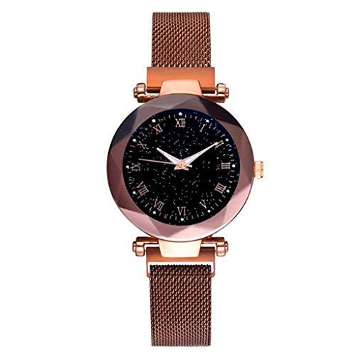 Rosennie Damen Armbanduhr Analog Quarz Uhr mit Edelstahl Armband Armbanduhren Meshband Sternenklarer Himmel Damenuhr Diamant Strass Edelstahl Uhr Wasserdicht
