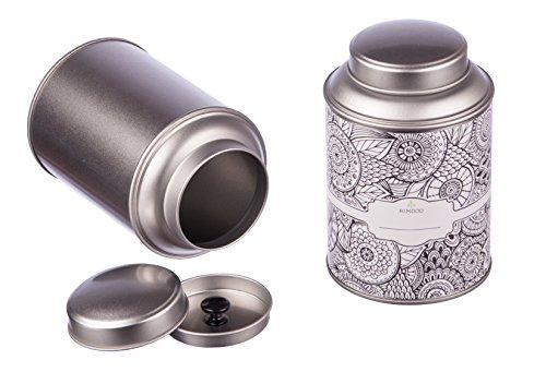 4 große Teedosen mit extra Aromadeckel, inkl. Etiketten, stapelbar, Ø ca. 8,7 cm, Höhe: ca.13,9 cm