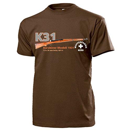K31 Karabiner Modell 1931 Waffenfabrik Bern Schweiz W+F - T Shirt #17665, Größe:XL, Farbe:Braun