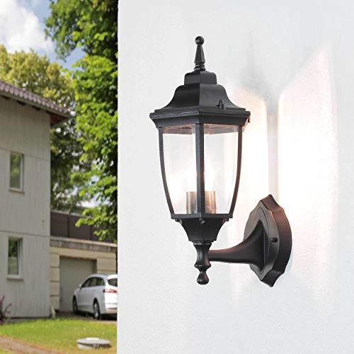 *Rustikale Wandleuchte in schwarz inkl. 1x 12W E27 LED Außenlampe aus Aluminium Glas für Garten Terrasse Weg Lampen Leuchte Beleuchtung außen*
