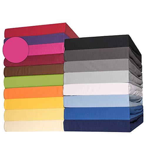 #1 CelinaTex Lucina Jersey Spannbettlaken, Spannbetttuch, Bettlaken, 180x200 – 200x200 cm, Pink