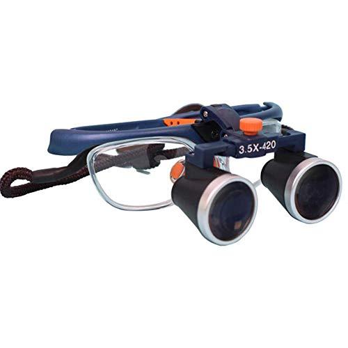 QX Lupa Gafas Diadema Lupa con luz 2.5/3.5 × 420mm con Lupa de lámpara de Cabeza de Cabeza para Leer Pasatiempos Crafts Workbench,2.5X