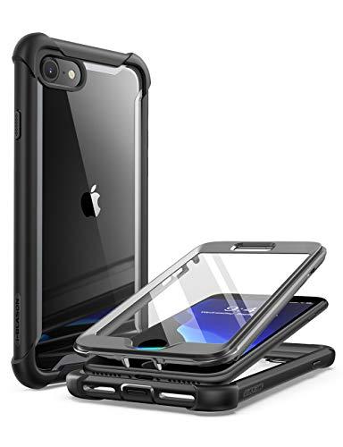 i-Blason Custodia per iPhone SE 2020   iPhone 8   iPhone 7, 360 gradi Cover con Pellicola Protettiva Integrata [Serie Ares] Rugged Case, Nero
