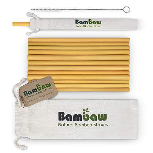 Bambaw Pajitas de Bambú | Pajitas Reutilizables | Fabricadas en Bali | Pack 12 Pajitas Biodegradables | Pajitas Cócteles | Pajitas Largas | Incluye Cepillo de Limpieza y Bolsa de Jute (22 cm)