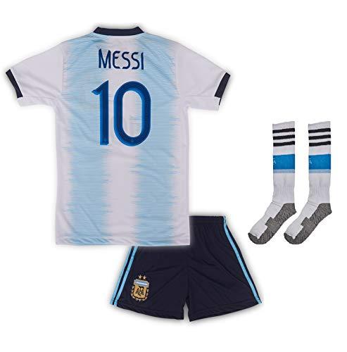 Argentinien Messi Trikot Set #10 2018/19 Heim Messi Kinder Fussball Trikot Mit Shorts Und Socken (164)