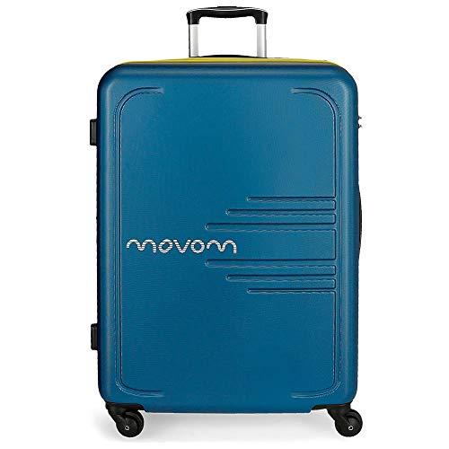 Movom Flash Maleta Mediana Azul 48x69x28 cms Rígida ABS Cierre combinación 80L 3,7Kgs 4 Ruedas Extensible