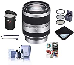 Sony 18-200mm f/3.5-6.3 OSS E-mount NEX Camera Lens, Silver Bundle with 67mm Filters & Pro Software