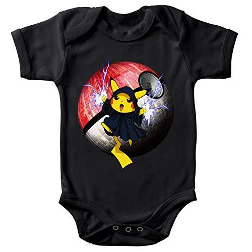 Body bébé Manches Courtes Noir Parodie Star Wars - Pokémon - Pikachu et Palpatine Darth Sidious - Pika Dark Side :(Body bébé de qualité supérieure de Taille 3 Mois - imprimé en France)