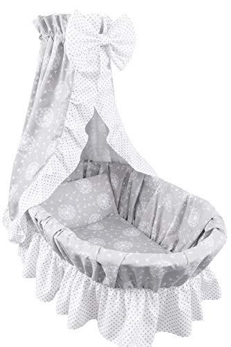 Amilian 9tlg Textile Ausstattung für STUBENWAGEN mit Himmelstange Bollerwagen Himmel Matratze Baby Bettwäsche für Kinderzimmer Design: Pusteblumen Grau/Pünktchen Grau auf Weiß