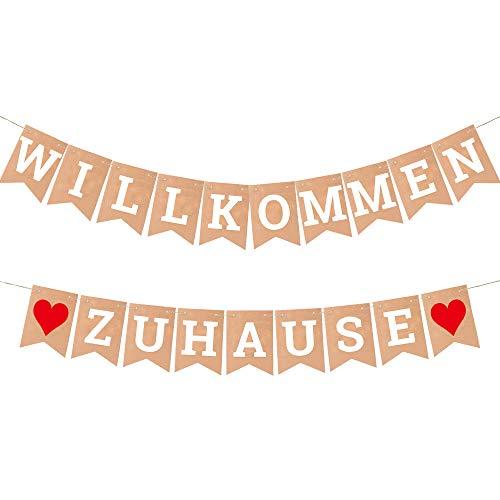 ecooe Willkommen Zuhause Banner für Dekoration Familie Partei Welcome Home Banner mit 19Stk Wimpeln und 3M Jute Seil*2