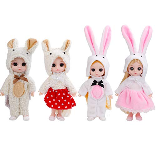 ONEST 4 Sets 6 Inch Dolls Cute Girl Dolls Include 4 Pieces Girl Mini Dolls, 4 Sets Handmade Doll Clothes, 4 Pairs of Doll Shoes