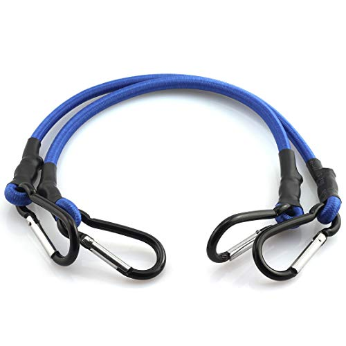 HJ Garden 2pcs 8mm x 45cm Bungee Cord with Hook Heavy Duty Straps 2 Climbing Hooks Strong Elastic Rope Shock Cord Tie Down Set(Blue)