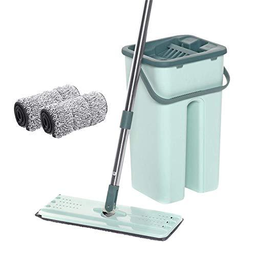 YIJIAHUI Fregona de piso manos libres de limpieza de piso fregona mojado seco uso mágico giro automático auto limpieza perezoso fregona cubeta