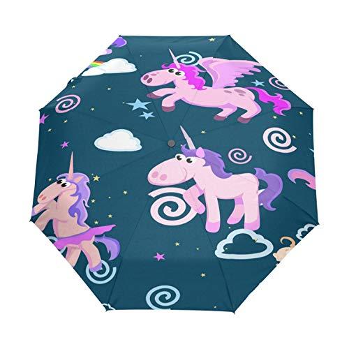 Kleiner Reiseschirm Winddicht im Freien Regen Sonne UV Auto Compact 3-Fach Regenschirm Abdeckung - Unicorn Seamless Pattern Magic Pegasus Flyin