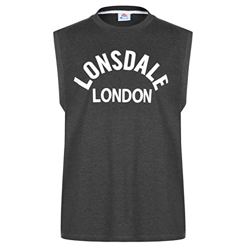 Lonsdale – Camiseta de tirantes para hombre, cuello redondo, algodón, sin mangas, para boxeo, artes marciales mixtas gris XXXXL