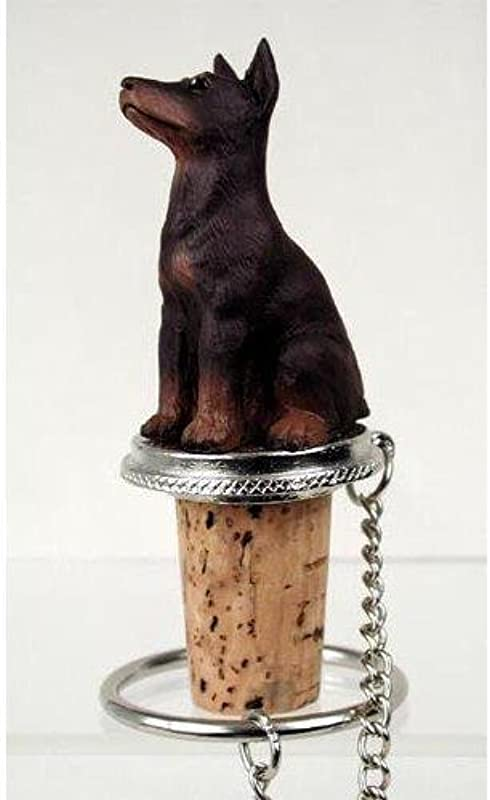 1 X Doberman Pinscher Red Wine Bottle Stopper